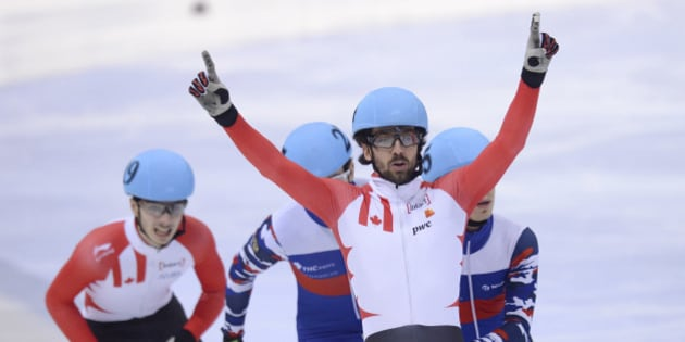 DRESDEN, GERMANY - FEBRUARY 07: Charles Hamelin of Canada celebrates after the Men 500 M Final during day two of the ISU World Cup Short Track Speed Skating at EnergieVerbund Arena on February 7, 2016 in Dresden, Germany.  (Photo by Daniel Kopatsch - ISU/ISU via Getty Images)