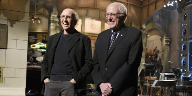 SATURDAY NIGHT LIVE -- 'Larry David' Episode 1695 -- Pictured: (l-r) Larry David and Senator Bernie Sanders introduce musical guest The 1975 on February 6, 2016 -- (Photo by: Dana Edelson/NBC/NBCU Photo Bank via Getty Images)