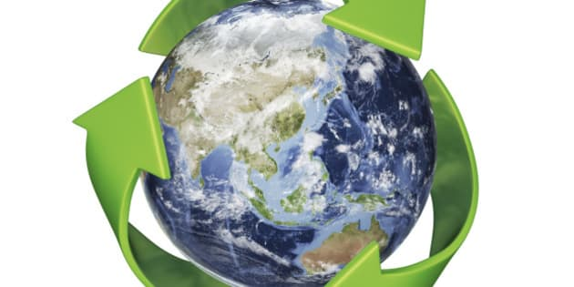A 3D Rendering of Earth surrounded by the recycle symbol with Clipping Path