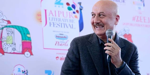 JAIPUR, INDIA - JANUARY 25: Bollywood actor Anupam Kher interacts with media persons after his name was being announced as Padma Bhushan award recipient by the government at Jaipur Literary Festival 2016, at Diggi Palace, on January 25, 2016 in Jaipur, India. Ninth edition of ZEE Jaipur Literature Festival is set to witness over 360 participants from the fields of literature, history, politics, economy, art and culture debate and discuss on one platform for the five days. (Photo by Himanshu Vyas/Hindustan Times via Getty Images)