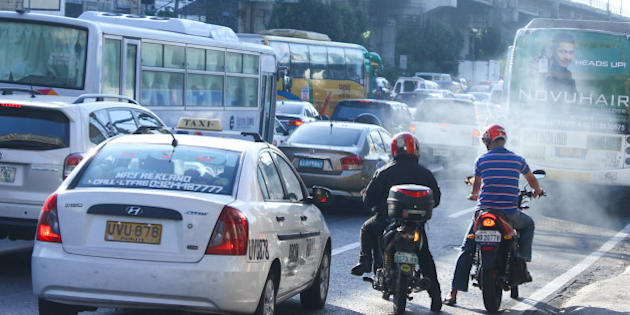 CUBAO, QUEZON CITY, PHILIPPINES - 2016/01/15: Motorcycle during heavy traffic near EDSA Highway. Philippines is known to have the  'Worst Traffic in the World' according to Metro Manila (CNN Philippines) based on a global evaluation conducted by Waze, a GPS-based navigation app. (Photo by Herman Lumanog/Pacific Press/LightRocket via Getty Images)