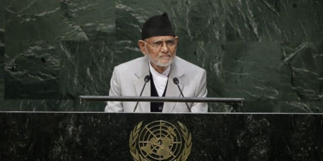 Sushil Koirala, prime minister of Nepal, addresses the 69th session of the United Nations General Assembly at U.N. headquarters on Friday, Sept. 26, 2014. (AP Photo/Frank Franklin II)