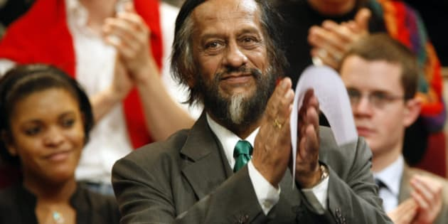 Rajendra K. Pachauri, Chairman of the U.N. Intergovernmental Panel on Climate Change who shared the 2007 Nobel Peace Prize with Al Gore, acknowledges applause during the national council meeting of the UMP (Union for a Popular Movement) at Aubervilliers, on the outskirts of  Paris, Saturday, Nov. 28, 2009. (AP Photo/Francois Mori)