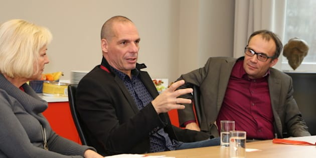 Yannis Varoufakis and Srećko Horvat visiting the Rosa-Luxemburg-Stiftung in Berlin to talk about the struggle for a more democratic Europe and the new DiEM 25 (Democracy in Europe Movement 2025).  Fotograf/Photographer: Patrick Stary (RLS)