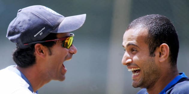 Bangalore, INDIA:  Indian cricketer Mohammed Kaif (L) enjoys a light moment with teammate Irfan Pathan during a practice session at the National Cricket Academy (NCA) in Bangalore 01 September 2006.  The Indian cricket team is holding a nine-day-long training camp in preparation for the forthcoming tri-series with Australia and The West Indies in Malaysia in the southern Indian city.        AFP PHOTO/Dibyangshu SARKAR  (Photo credit should read DIBYANGSHU SARKAR/AFP/Getty Images)