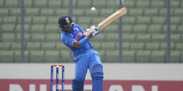DHAKA, BANGLADESH - FEBRUARY 09: Anmolpreet Singh of India bats during the ICC U19 World Cup Semi-Final match between India and Sri Lanka on February 9, 2016 in Dhaka, Bangladesh.  (Photo by Pal Pillai/Getty Images for Nissan)