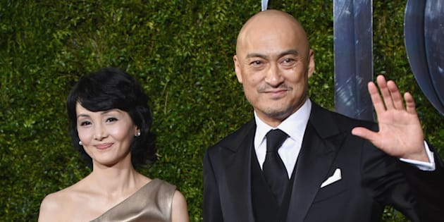 Ken Watanabe, right, and Kaho Minami and  arrive at the 69th annual Tony Awards at Radio City Music Hall on Sunday, June 7, 2015, in New York. (Photo by Evan Agostini/Invision/AP)