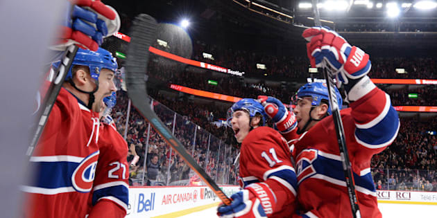 MONTREAL, QC - FEBRUARY 9:Tomas Plekanec #14 of the Montreal Canadiens celebrates after scoring a goal against Ben Bishop #30of the Tampa Bay Lightning in the NHL game at the Bell Centre on February 9, 2016 in Montreal, Quebec, Canada. (Photo by Francois Lacasse/NHLI via Getty Images)