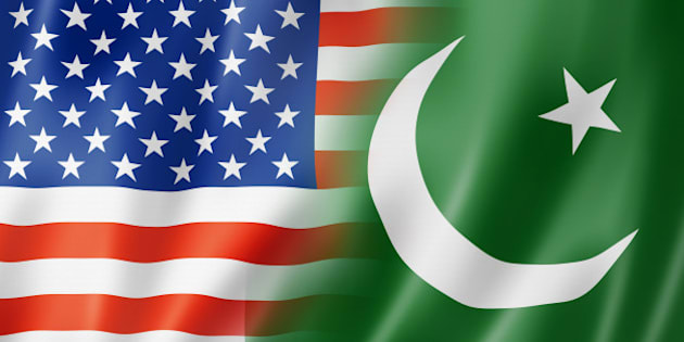 Mixed USA and Pakistan flag, three dimensional render, illustration