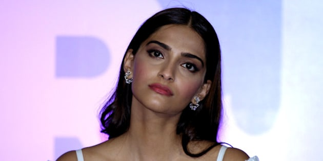 Indian Bollywood actress Sonam Kapoor poses during the launch of the trailer of the forthcoming biopic 'Neerja' in Mumbai late December 17, 2015.  The film tells the story of stewardess Neerja Bhanot who was killed while protecting passengers on the hijacked aircraft Pan Am 73 in 1986.     AFP PHOTO/Sujit Jaiswal / AFP / SUJIT JAISWAL        (Photo credit should read SUJIT JAISWAL/AFP/Getty Images)