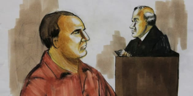 FILE- In this Dec. 9, 2009 file courtroom drawing shows David Coleman Headley, left, pleads not guilty before U.S. District Judge Harry Leinenweber in Chicago to charges that accuse him of conspiring in the deadly 2008 terrorist attacks in the Indian city of Mumbai and of planning to launch an armed assault on a Danish newspaper. (AP Photo/Verna Sadock, File)