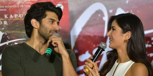 MUMBAI, INDIA JANUARY 04: Aditya Roy Kapur and Katrina Kaif at the trailer launch of their upcoming movie 'Fitoor in Mumbai.(Photo by Milind Shelte/India Today Group/Getty Images)
