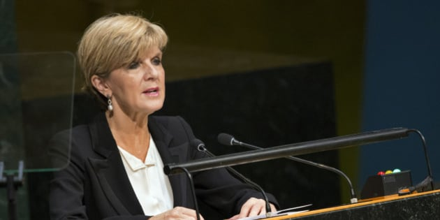 Foreign Minister of Australia Julie Bishop, addresses the 2015 Sustainable Development Summit, Sunday, Sept. 27, 2015, at United Nations headquarters. (AP Photo/Craig Ruttle)