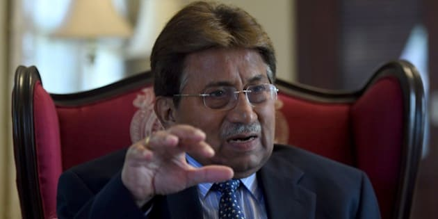 To go with Pakistan-unrest-politics-Afghanistan-India,INTERVIEW by Guillaume LAVALLÉE In this photograph taken November 14, 2014, Pakistan's former military ruler General Pervez Musharraf gestures during an interview with AFP in Karachi. The departure of NATO combat forces from Afghanistan could push India and Pakistan towards a proxy war in the troubled state Musharraf warned in an interview with AFP.   AFP PHOTO / Asif HASSAN        (Photo credit should read ASIF HASSAN/AFP/Getty Images)