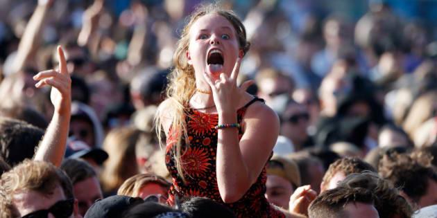 SYDNEY, AUSTRALIA - FEBRUARY 07:  A reveller enjoys the performance by Violent Soho at St Jerome's Laneway Festival on February 7, 2016 in Sydney, Australia.  (Photo by Zak Kaczmarek/WireImage,)