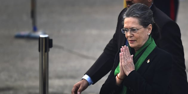 NEW DELHI, INDIA - JANUARY 29: Congress President Sonia Gandhi arrives for Beating Retreat ceremony, on January 29, 2016 in New Delhi, India. This year, 15 Military Bands, 18 Pipes and Drums Bands from Regimental Centres and Battalions are participated in the ceremony. (Photo by Ajay Aggarwal/Hindustan Times via Getty Images)