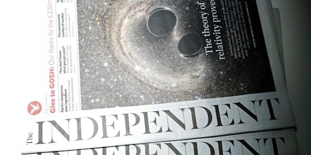 Copies of the British newspaper 'The Independent' are arranged for a photograph in London on February 12, 2016. British newspaper The Independent will become digital only, and its last print edition will come out on March 26, owners ESI Media said in a statement. / AFP / ADRIAN DENNIS        (Photo credit should read ADRIAN DENNIS/AFP/Getty Images)