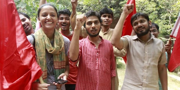 NEW DELHI, INDIA - SEPTEMBER 13: (L-R) AISA`s candidates Shehla Rashid Shora, Vice President, Rama Naga, General Secretary and AISFs Kanhaiya Kumar elected as President, pose during a photo call, at Jawaharlal Nehru University, on September 13, 2015 in New Delhi, India. RSS-backed Akhil Bharatiya Vidyarthi Parishad (ABVP) won a seat in Jawaharlal Nehru University Students' Union (JNUSU) polls after 14 years. ABVP outshone its opponents by huge margins and swept the Delhi University Students' Union (DUSU) elections this year despite predictions of a tough four-corner fight. (Photo by Sanjeev Verma/Hindustan Times via Getty Images)
