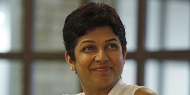 Facebook India Head Kirthiga Reddy smiles while addressing the media at the Facebook office in Hyderabad, India, Thursday, Oct. 18,2012. Facebook Thursday announced the opening of its new office in Hyderabad, local news reports said. (AP Photo/Mahesh Kumar A.)