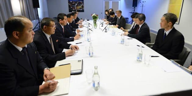 A Japanese delegation led by Junichi Ihara (4th R), the director general of the foreign ministry's Asian and Oceanian Affairs Bureau, and a delegation from North Korea led by Song Il Ho (5th L), ambassador for talks to normalise relations with Japan, meet in Stockholm on May 26, 2014. The meeting in the Swedish capital takes place after the two countries held their first official talks in 16 months in China in March, speaking on a range of issues including the abduction issue and North Korea's nuclear weapons programme. AFP PHOTO / JONATHAN NACKSTRAND        (Photo credit should read JONATHAN NACKSTRAND/AFP/Getty Images)