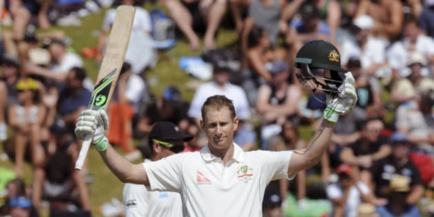 Australia's Adam Voges celebrates his century against New Zealand on the second day of the first International Cricket Test match at Basin Reserve, Wellington, New Zealand, Saturday, Feb. 13, 2016. (Ross Setford/SNPA via AP) NEW ZEALAND OUT