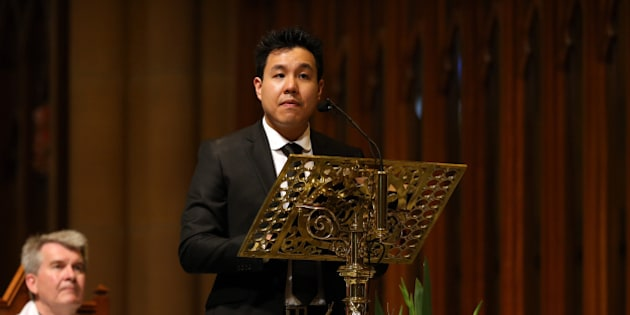 SYDNEY, AUSTRALIA - OCTOBER 17: Alpha Cheng speaks at a funeral service for Curtis Cheng at St Mary's Cathedral October 17, 2015 in Sydney, Australia. Police employee, Curtis Cheng, was shot outside the NSW police headquarters in Parramatta two weeks ago by an Iranian born Australian. Australian Prime Minister Malcolm Turnbull has called the murder an 'act of terrorism.' (Photo by Sam Ruttyn-Pool/Getty Images)