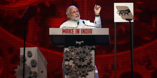 Indian Prime Minister Narendra Modi speaks during the inaugural ceremony of 'Make in India' week in Mumbai, India, Saturday, Feb 13, 2016. 'Make in India' is an initiative launched by the Modi last year to encourage international companies to manufacture their goods in India. (AP Photo/Rajanish Kakade)
