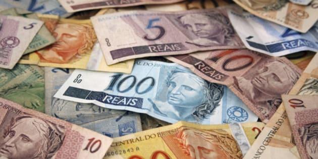 Brazilian money background. Bills called Reais (Real).