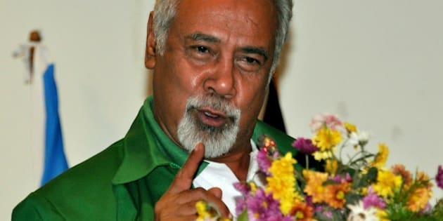 East Timor Prime Minister Xanana Gusmao delivers an address before the National Congress of East Timor's Reconstruction (CNRT) political party assembly in Dili on August 3, 2014. Recent news reports indicated Gusmao, 67, a former guerrilla leader in the 24-year resistance against Indonesian occupation until East Timor gained its independence in 2002, intends to retire from public office this year having served as the nation's first president since its independence.    AFP PHOTO / VALENTINO DE SOUSA        (Photo credit should read VALENTINO DE SOUSA/AFP/Getty Images)