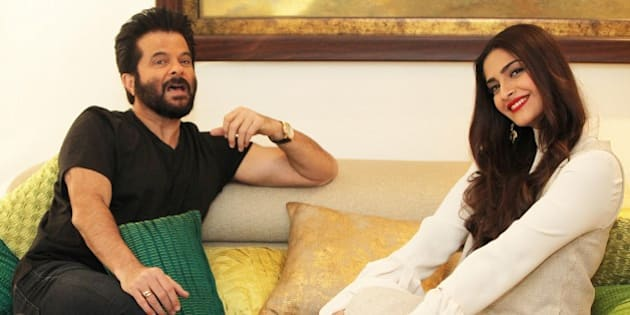 MUMBAI, INDIA - NOVEMBER 29: (Editor's Note: This is an exclusive shoot of Hindustan Times) Bollywood actors Sonam Kapoor and Anil Kapoor during an exclusive interview and photoshoot with HT Cafe-Hindustan Times, at their residence, in Juhu, on November 29, 2015 in Mumbai, India. During the interview, Sonam Kapoor said, 'No one knows my struggle. For instance, I just refuse to take my dad's help.' On Film Reviews, Anil Kapoor said, 'I only read reviews either six months or a year later. At that time, I can look at them objectively.' This year really has been a good one for Anil Kapoor and Sonam Kapoor. While Sonam's latest release has turned into a box office success, it has entered the Rs. 200 crore clubs. The performer has also shot to get a special picture on late flight attendant Neerja Bhanot. Meanwhile, Anil received rave reviews for his part in Dil Dhadakne Do. Now, the senior artiste is busy working on the second season of his TV show that is popular. (Photo by Vidya Subramanian/Hindustan Times via Getty Images)