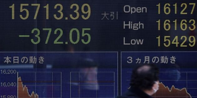 A man walks past an electric quotation board flashing the Nikkei key stock index of the Tokyo Stock Exchange (TSE) in front of a securities company in Tokyo on February 10, 2016. Tokyo stocks again dropped on February 10 to their lowest level since late 2014, as fears of a global recession hammered investor confidence ahead of testimony by the head of the US central bank.      AFP PHOTO / Toru YAMANAKA / AFP / TORU YAMANAKA        (Photo credit should read TORU YAMANAKA/AFP/Getty Images)