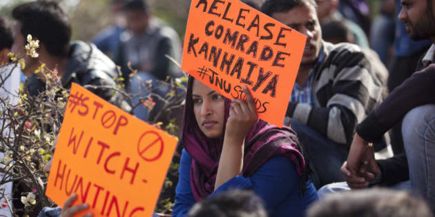 An Indian student holds a placard demanding the release of student leader Kanhaiya Kumar during a protest at the Jawaharlal Nehru University in New Delhi, India, Tuesday, Feb. 16, 2016. Students, journalists and teachers protested in the Indian capital Tuesday after a student union leader's arrest and subsequent violence by Hindu nationalists. The uproar has once again sparked allegations that Prime Minister Narendra Modi's government and his Hindu nationalist Bharatiya Janata Party are displaying intolerance and cracking down on political dissent in the name of patriotism. (AP Photo /Tsering Topgyal)