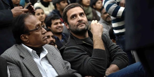 NEW DELHI, INDIA - FEBRUARY 13: Congress Vice President Rahul Gandhi joins the ongoing protest of JNU students over the release of JNU Student's Union President Kanhaiya Kumar at Jawaharlal Nehru University, on February 13, 2016 in New Delhi, India. Gandhi slammed the Centre and said that it is terrified of people who are raising their voices. He said that the most anti-national people are the people who are suppressing the voice of this institution. JNU Student's Union President Kanhaiya Kumar was arrested in connection with a case of sedition, seven more students from the university have been detained after a controversial event to protest the hanging of 2001 Parliament attack convict Afzal Guru three years ago. The protesters also allegedly shouted anti-India slogans during the event. (Photo by Vipin Kumar/Hindustan Times via Getty Images)