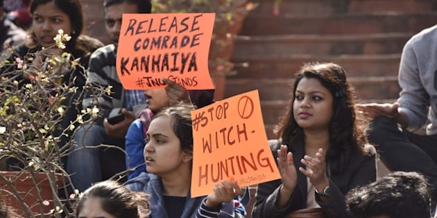 NEW DELHI, INDIA - FEBRUARY 16: JNU students protest march against Central Government at JNU campus, demand the release of Kanhaiya Kumar who was arrested on sedition charge in connection with an event organised on the campus against the hanging of Afzal Guru, on February 16, 2016 in New Delhi, India. JNU has been on the boil over the arrest of its student's Union President Kanhaiya Kumar on sedition charges after some students organised a meet to mark the anniversaries of executions of Parliament attack convict Afzal Guru. (Photo by Virendra Singh Gosain/Hindustan Times via Getty Images)