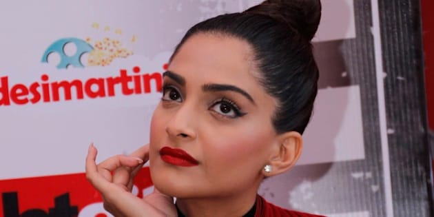 NEW DELHI, INDIA - FEBRUARY 15: (EDITOR'S NOTE: This is an exclusive shoot of Hindustan Times) Bollywood actor Sonam Kapoor during an exclusive interview with HTCITY, as part of stars in the city series for the promotion of upcoming biographical film Neerja at HT Media Office on February 15, 2016 in New Delhi, India. Neerja is an upcoming 2016 Indian biographical film revolving around the factual hijacking of Pan Am Flight 73 in Karachi, Pakistan specifically focusing on flight attendant Neerja Bhanot. The film was produced by Atul Kasbekar under the banner of Fox Star Studios. This film shows how the young flight attendant fought for the lives of her passengers. The film is scheduled for release on February 19, 2016. (Photo by Shivam Saxena/Hindustan Times via Getty Images)