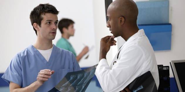 Doctors discussing x-rays