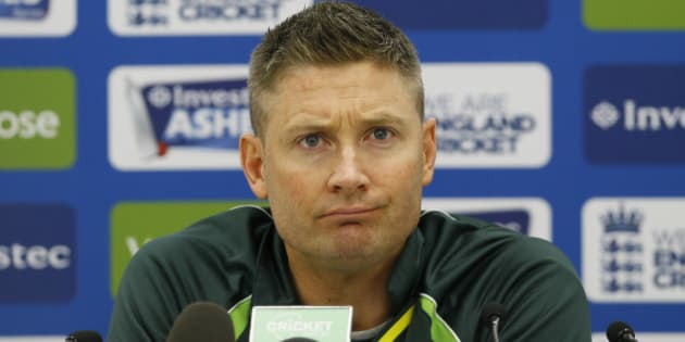 Australia's captain Michael Clarke listens during a press conference at the Oval cricket ground in London, Wednesday, Aug. 19, 2015. The fifth test starts at the ground on Thursday. (AP Photo/Kirsty Wigglesworth)