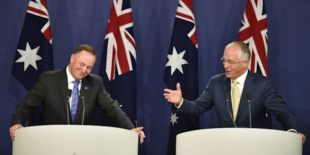 Australia's Prime Minister Malcolm Turnbull (R) and New Zealand Prime Minister John Key (L) hold a joint press conference in Sydney on February 19, 2016. The leaders are participating in the Australia-New Zealand Leaders' Meeting 2016. AFP PHOTO / Peter PARKS / AFP / PETER PARKS        (Photo credit should read PETER PARKS/AFP/Getty Images)