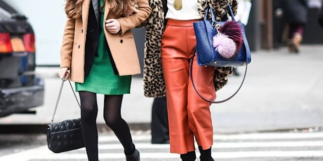 NEW YORK, NY - FEBRUARY 17:  Guests are seen outside the DKNY show during New York Fashion Week: Women's Fall/Winter 2016 on February 17, 2016 in New York City.  (Photo by Daniel Zuchnik/Getty Images)