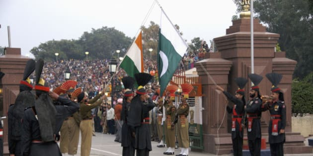 Wagah, border-closing ceremony at Pakistan-India border near Lahore, Punjab, Pakistan