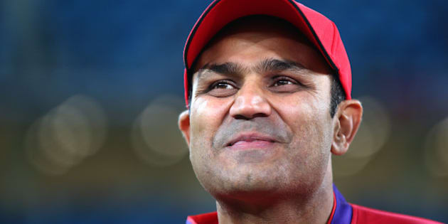 DUBAI, UNITED ARAB EMIRATES - JANUARY 28:  Virender Sehwag of Gemini Arabians looks on during the opening match of the Oxigen Masters Champions League 2016 between Libra Legends and Gemini Arabians at the International Cricket Stadium on January 28, 2016 in Dubai, United Arab Emirates.  (Photo by Francois Nel/Getty Images)