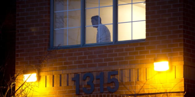 TORONTO, ON- FEBRUARY 5: A man looks out of a hallway window after Friday's tragic fire on the 5th floor of the Toronto Community Housing building at 1315 Neilson Road.        (Lucas Oleniuk/Toronto Star via Getty Images)