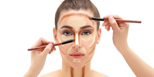 Girl applying makeup