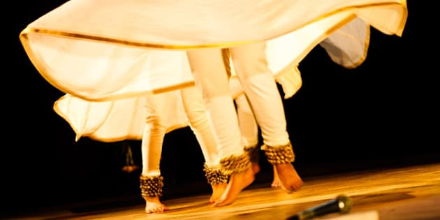 Kathak is an classical Indian dance form, which involves rapid hand and feet movements, in sync with the beats of the music. Though the dance has many forms, it typically has faster beats than some other classical dances.Here a kathak dancer is seen jumping in air with the beats of the music.