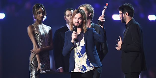 LONDON, ENGLAND - FEBRUARY 24:  Kevin Palmer from Tame Impala with their Best International Group award on stage during the BRIT Awards 2016 at The O2 Arena on February 24, 2016 in London, England.  (Photo by Ian Gavan/Getty Images)