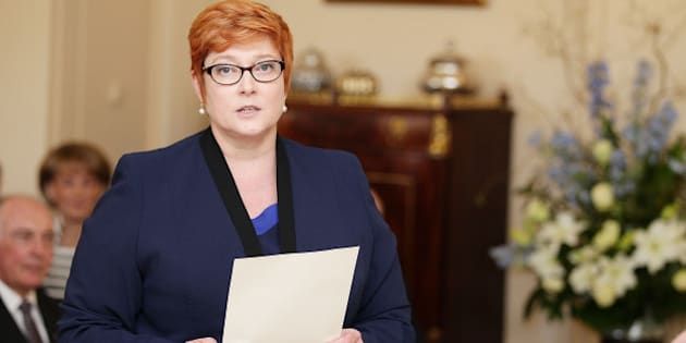 CANBERRA, AUSTRALIA - SEPTEMBER 21:  Minister for Defence Marise Payne is sworn in by Governor-General Sir Peter Cosgrove during the swearing-in ceremony of the new Turnbull Government at Government House on September 21, 2015 in Canberra, Australia. Prime Minister Malcolm Turnbull announced a new look front bench on Sunday.  (Photo by Stefan Postles - Pool/Getty Images)