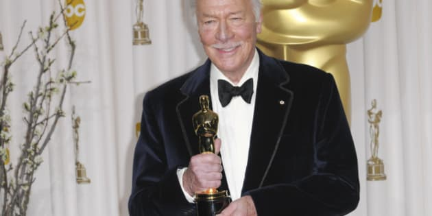 Christopher Plummer pose in the press room at the 84th Annual Academy Awards held at the Kodak Theater in Hollywood, California on February 26, 2012.