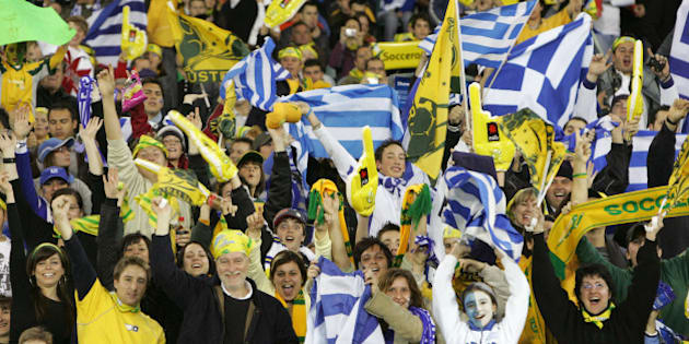 (AUSTRALIA & NEW ZEALAND OUT) Soccer 2006. Supporters of both countries cheer from the stands during the World Cup warm-up friendly match between Australia and Greece at the MCG in Melbourne, 25 May 2006. THE AGE Picture by WAYNE TAYLOR (Photo by Fairfax Media/Fairfax Media via Getty Images)