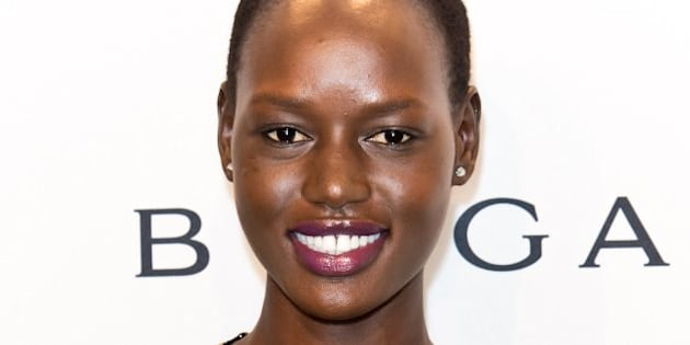 NEW YORK, NY - FEBRUARY 05:  Model Angelique 'Ajak' Deng attends the 2014 amfAR New York Gala at Cipriani Wall Street on February 5, 2014 in New York City.  (Photo by Gilbert Carrasquillo/FilmMagic)