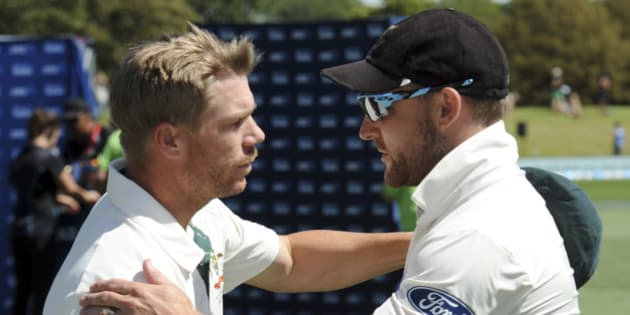 Australia's David Warner, left, and New Zealand's Brendon McCullum shake hands as McCullum retires from international cricket match on the fifth day of the second international cricket test match at Hagley Park Oval in Christchurch, New Zealand, Wednesday, Feb. 24, 2016. (Ross Setford/SNPA via AP) NEW ZEALAND OUT